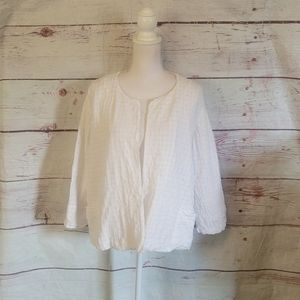 Eileen Fisher Cotton Open Cardigan Size Large